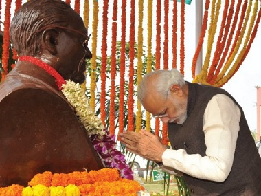 PM Narendra Modi paying tribute to BR Ambedkar on his birth anniversary. Image courtesy: Twitter