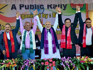 Prime Minister Narendra Modi and BPF chief Hagrama Mohilary flanked by party leaders earlier this year. PTI