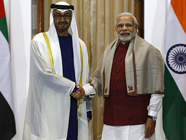 File photo of Sheikh Mohammed bin Zayed al-Nahyan, Crown Prince of Abu Dhabi and UAE's deputy commander-in-chief of the armed forces, with Prime Minister Narendra Modi. Reuters