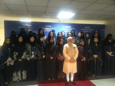 PM Modi with TCS executives, Saudi officials and employees in Riyadh. TWITTER. MEA spokesperson - Vikas Swarup