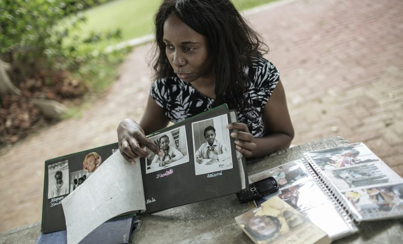 Lucia Engombe (43), one of hundreds of Namibian children who were sent to East Germany between the late 70's and late 80'. AFP