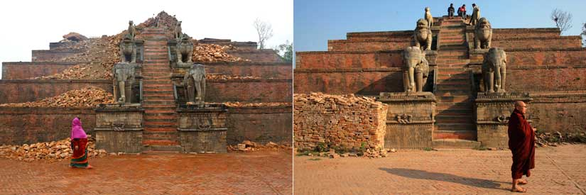 In this combination of two photos, on the left, a Nepalese woman walks by rubble at Bhaktapur Durbar Square, a Unesco World Heritage Site, on the outskirts of Kathmandu, in April 2015, as on the right, a Buddhist monk stands at the same place after the rubble was removed in March 2016. AP
