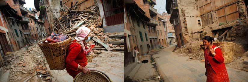A damaged house in Khokana, Lalitpur, Nepal in 2015 (left) and 2016 (right). AP