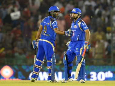 Mumbai Indians' Parthiv Patel (R) with Ambati Rayudu (L) during the IPL game against Kings XI Punjab. AFP