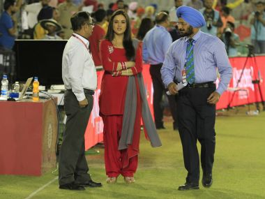 Kings XI Punjab owner Preity Zinta with officials during IPL 2016. BCCI