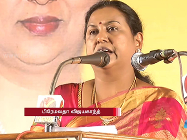 File image of Premalatha Vijaykanth. Screen grab from YouTube