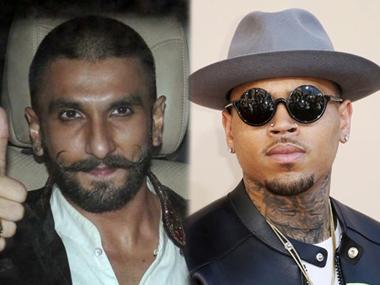 Ranveer Singh (L) and Chris Brown. Image from IBNlive