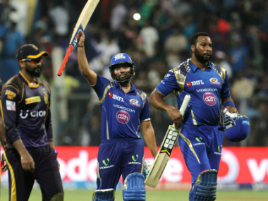 Rohit Sharma (left) and Kieron Pollard stitched an unbeaten 72-run stand for the fifth wicket to propel Mumbai to victory over Kolkata. Sportzpics/IPL