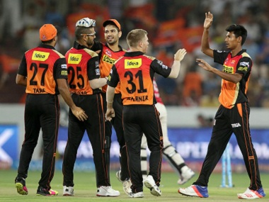 Sunrisers Hyderabad players celebrate another wicket. BCCI