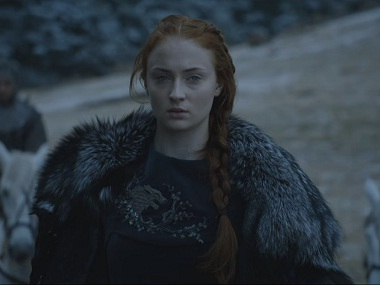 Sansa Stark sports the direwolf sigil in 'Game of Thrones'. Screen grab from YouTube