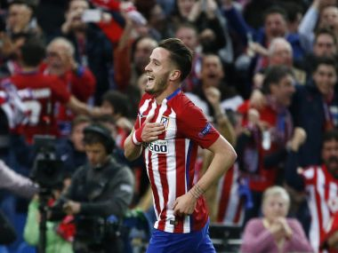 Saul Niguez celebrates after scoring the first goal for Atletico Madrid. Reuters