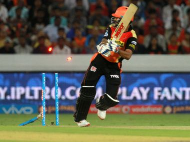 Sunrisers Hyderabad captain Shikhar Dhawan gets clean bowled by Mumbai Indians player Tim Southee. BCCI