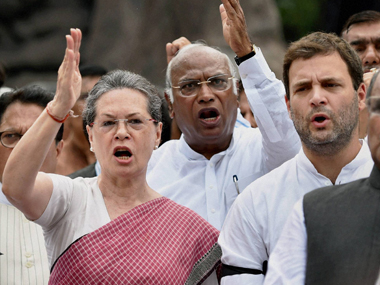 A file photo of Congress leaders Sonia Gandhi, Rahul Gandhi and Mallikarjun Kharge. PTI