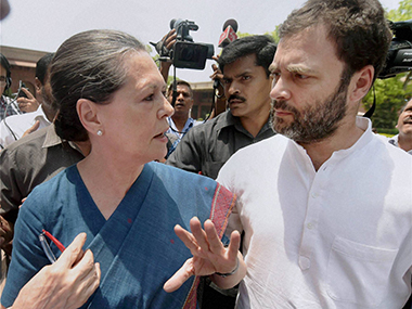 File image of Congress president Sonia Gandhi with Rahul Gandhi.  PTI