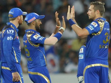 Tim Southee celebrates with his Mumbai Indians team mates. AFP