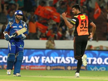 Sunrisers Hyderabad player Barinder Singh Sran celebrates the wicket of Mumbai Indians player Parthiv Patel. BCCI