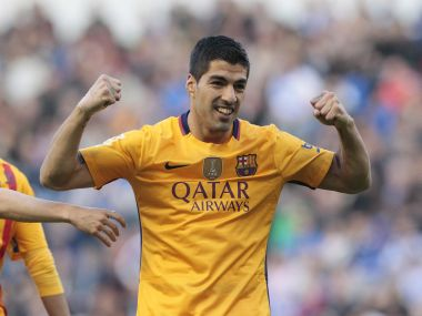 Barcelona's Luis Suarez celebrates his goal. AP