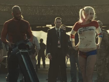 Will Smith as Deadshot and Margot Robbie as Harley Quinn in 'Suicide Squad'. Screen grab from YouTube