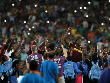 The West Indian contingent celebrating after the men joined the women in winning the World T20. Solaris Images