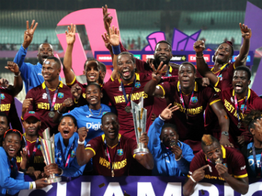 West Indies men's and women's team celebrate together after the conclusion of the World T20. Solaris Images