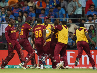 West Indies team celebrates its win over India in the World T20 semi-final in Mumbai. Solaris Images