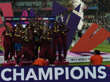 West Indies cricketers celebrate after winning the World T20 cricket tournament. AFP