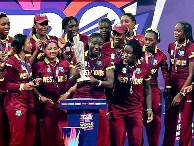 The West Indies women's team with the ICC World T20 trophy. PTI
