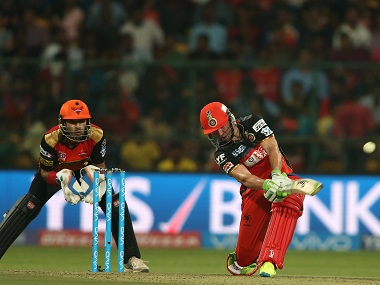 AB de Villiers of Royal Challengers Bangalore in action against the Sunrisers Hyderabad. BCCI