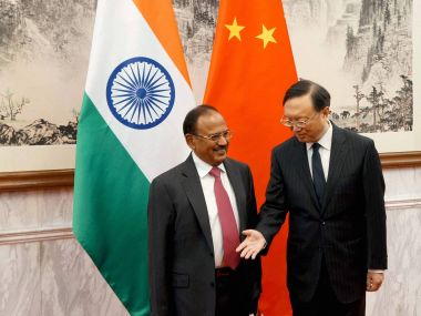 File image of NSA Ajit Doval with his Chinese counterpart Yang Diechi in Beijing on Wednesday. PTI