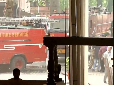 Fire trucks outside the Parliament Annexe building. Twitter/ANI