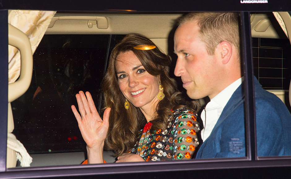 Catherine, Duchess of Cambridge and Prince William, Duke of Cambridge leave the Taj Tashi hotel to attend a dinner with King Jigme Khesar Namgyel Wangchuck and Queen Jetsun Pema on day five of the royal tour to India and Bhutan on April 14, 2015 in Thimphu, Bhutan. Getty