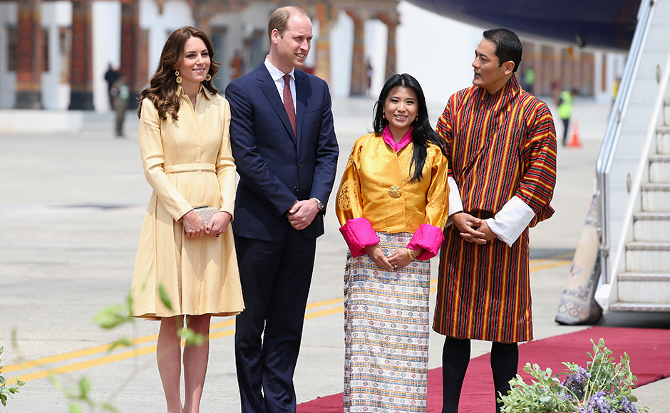 The Duke and Duchess of Cambridge pose with Princess Chimi Yangzom Wanchuck and Prince Dasho Ugyen Jigme Wangchuck as they arrive into Paro International Airport for the first day of a two day visit to Bhutan on April 14, 2016 in Paro, Bhutan. The Royal couple are visiting Bhutan as part of a week long visit to India and Bhutan that has taken in cities such as Mumbai, Delhi, Kaziranga, Bhutan and Agra. Getty