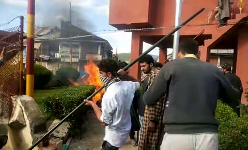 Protests in Handwara after the firing. Photo courtesy: Facebook