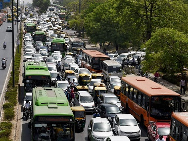 Traffic moves at slow pace at ITO, Vikas Marg during the second phase of odd-even scheme, in New Delhi on Monday. PTI