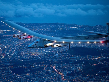 Solar Impulse 2 flies over San Francisco. AP