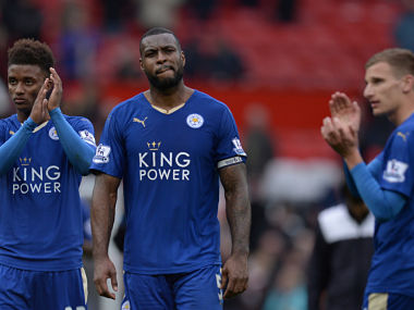 Leicester City players after 1-1 draw against Manchester United. AFP