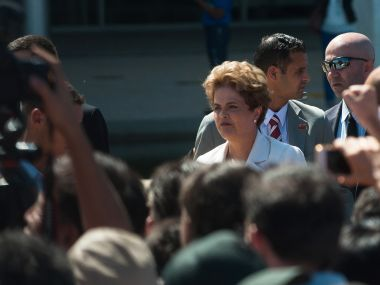 Brazil's suspended President Dilma Rousseff leaves Planalto Palace in Brasilia. AFP
