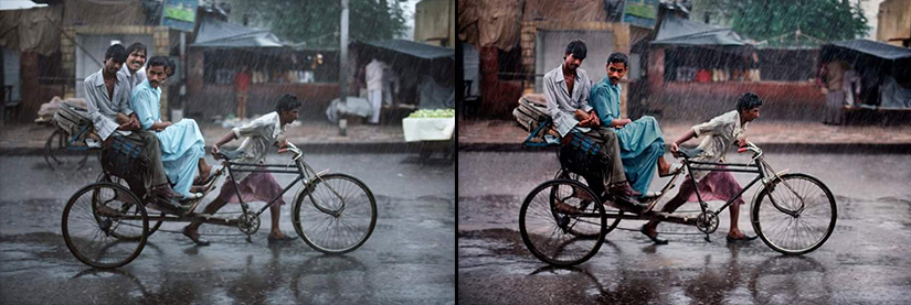 Left: Original image of men on a rickshaw taken by McCurry Right: Photoshopped version  Image Courtesy: Petapixel.com
