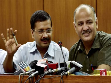 Delhi CM Arvind Kejriwal and his deputy Manish Sisodia. PTI
