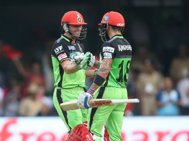 AB de Villiers and Virat Kohli (right) added 229 runs for the second wicket in a record stand. Sportzpics/IPL