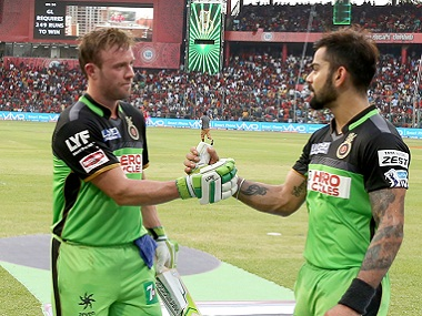 RCB's Virat Kohli and AB De Villiers following their record partnership. BCCI
