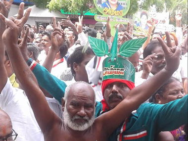 Supporters of AIADMK celebrate as Jayalalithaa returns as CM for the second consecutive term. Image courtesy: Firspost