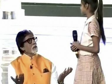 Amitabh interacts with another girl at the mega bash at India Gate on Saturday. PTI