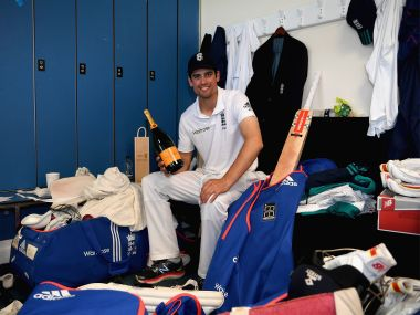 Alastair Cook relaxes after reaching 10,000 test runs and winning the 2nd Test. Getty Images