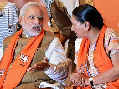 The buzz, emerging from these meetings, is that Anandiben, the first woman chief minister of Gujarat, might be sent to Punjab or Haryana as a governor and most senior state cabinet minister Nitin Patel appointed in her place.  PTI