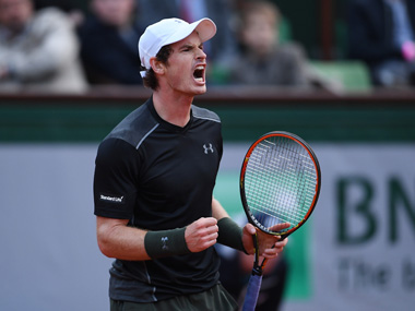 Andy Murray of Great Britain in action at French Open. Getty