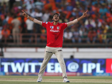 Kings XI Punjab's Axar Patel celebrates after his hat-trick against Gujarat Lions. SportzPics