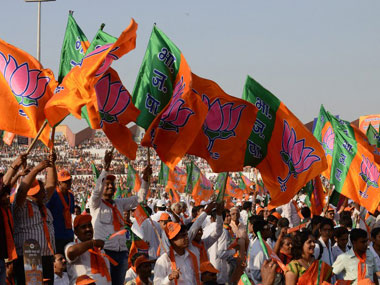 Assembly Elections 2015. BJP flags. Representational image. AFP