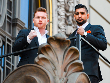 Canelo Alvarez and Amir Khan (right) pose for the media in New York ahead of their much-hyped fight. Getty Images