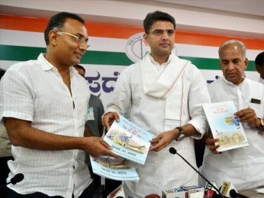 Congress leader Sachin Pilot with party leaders releasing a booklet in connection with the two years of NDA Government at a press conference at KPCC office in Bengaluru on Saturday. PTI